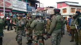 Kashmir Police evacuated the village during the search operation on Thursday